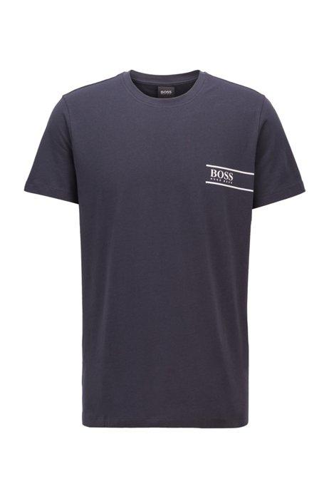 T-shirt Relaxed Fit en coton avec logo sur la poitrine, Bleu foncé
