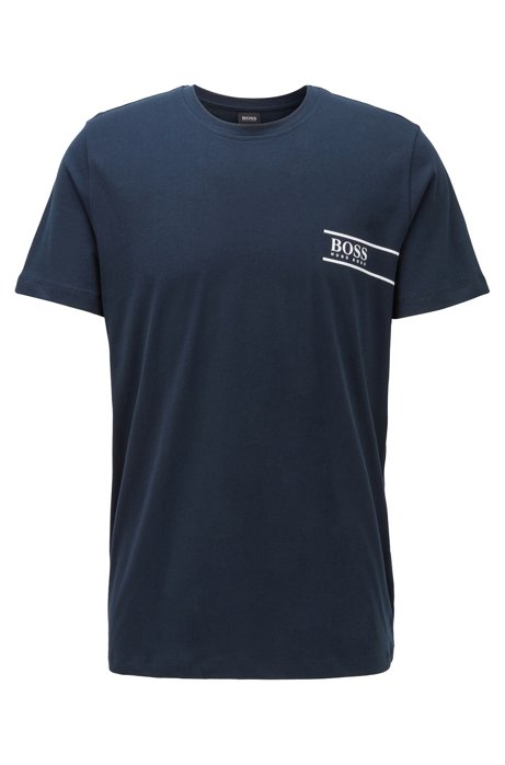 Relaxed-fit cotton underwear T-shirt with chest logo, Dark Blue