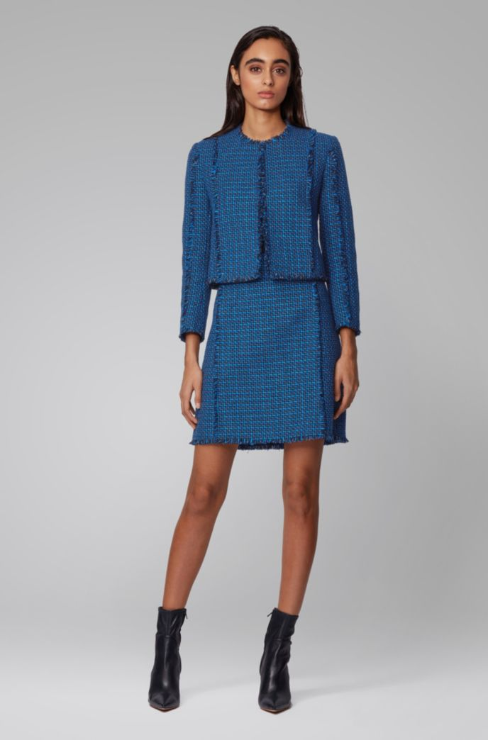 A-line skirt in two-tone checked tweed