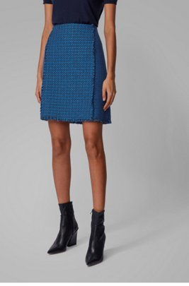A-line skirt in two-tone checked tweed, Patterned