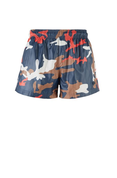 Quick-dry swim shorts with camouflage print, Light Blue