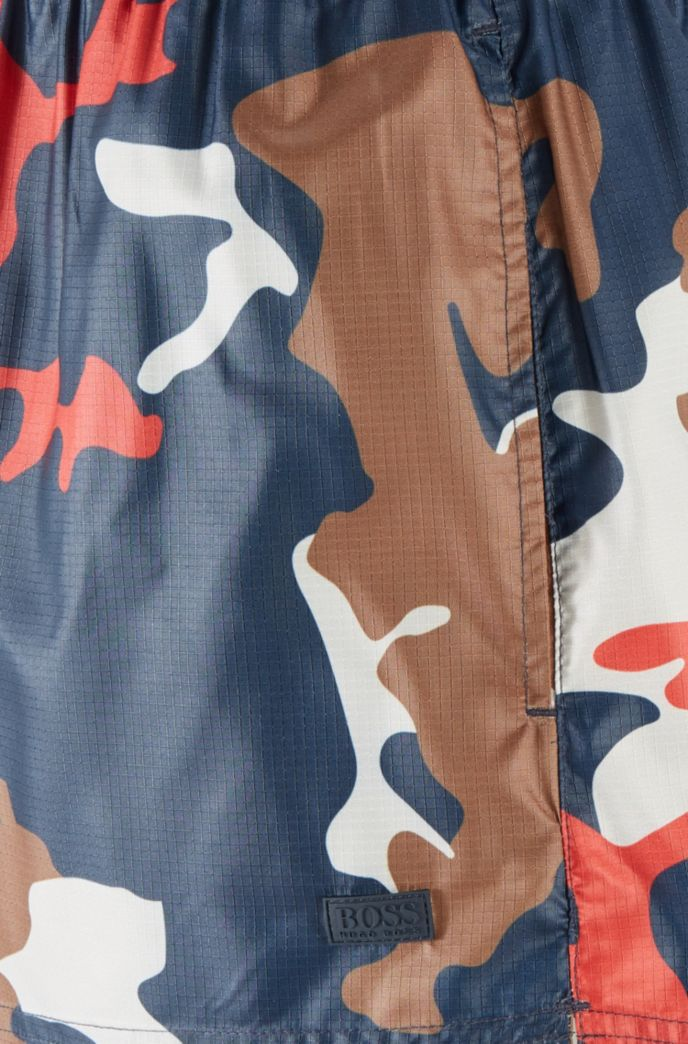 Quick-dry swim shorts with camouflage print