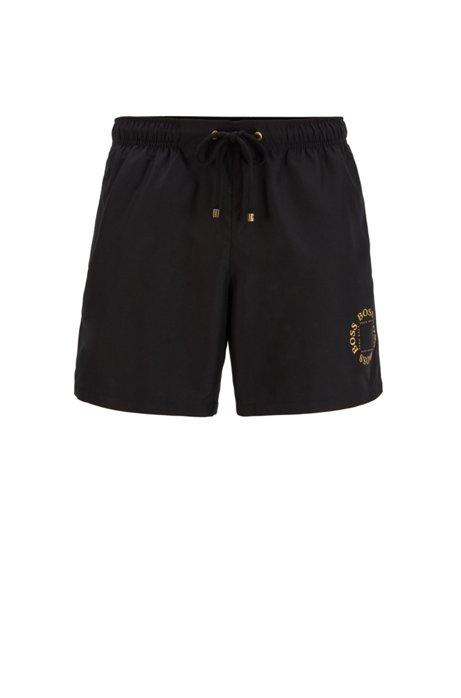 Quick-drying swim shorts with metallic logo and trims, Black