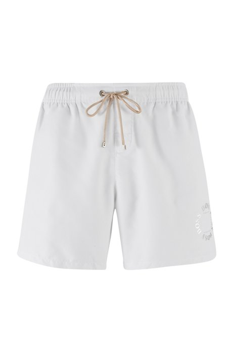 Quick-drying swim shorts with metallic logo and trims, White