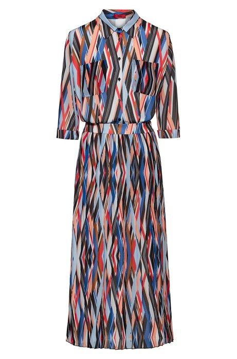 Midi zigzag-printed shirt dress with plissé skirt part, Patterned