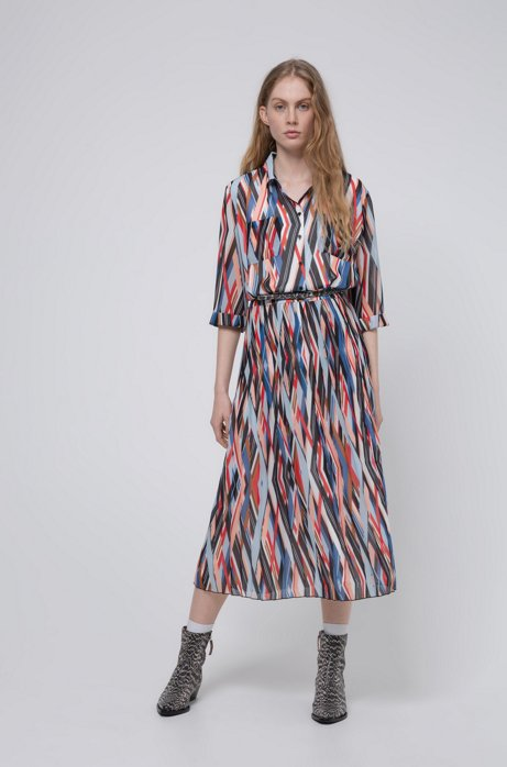 Midi zigzag-printed shirt dress with plissé skirt part, Patterned