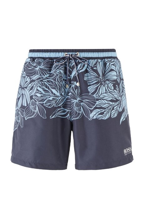 Quick-dry swim shorts with floral print, Light Blue