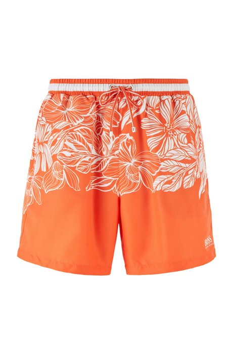 Quick-dry swim shorts with floral print, Open Orange