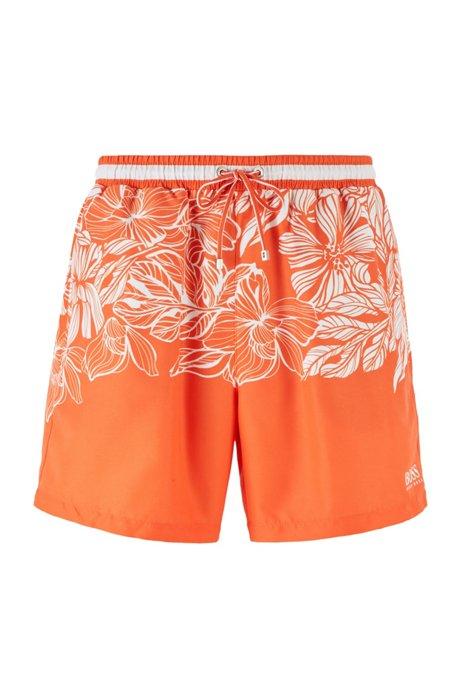Quick-dry swim shorts with floral print, Light Orange