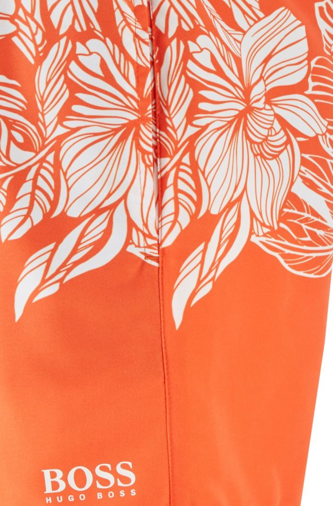 Quick-dry swim shorts with floral print
