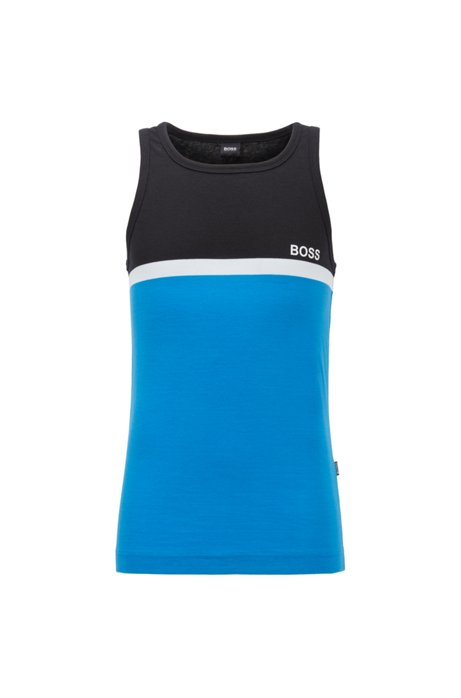 Color-block tank top in cotton jersey, Open Blue
