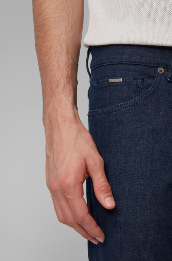 Regular-fit jeans in dark-blue cashmere-touch denim