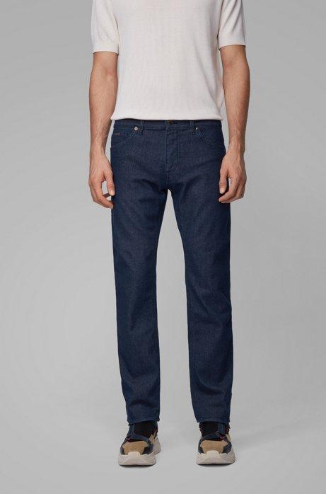 Regular-fit jeans in dark-blue cashmere-touch denim, Dark Blue
