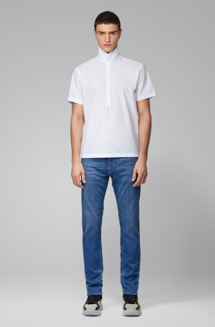 Slim-fit jeans in mid-blue cashmere-touch denim