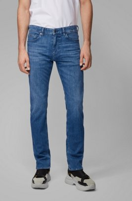 Slim-fit jeans in mid-blue cashmere-touch denim, Blue