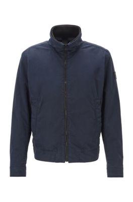 Blouson-style jacket in garment-dyed cotton twill, Dark Blue