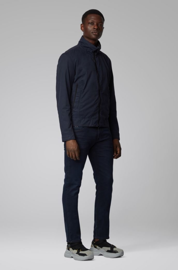 Blouson-style jacket in garment-dyed cotton twill