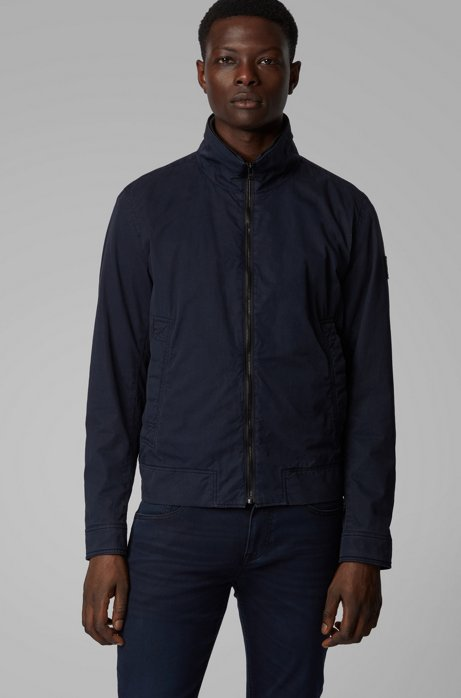 Blouson-style jacket in garment-dyed cotton twill, Dark Blue
