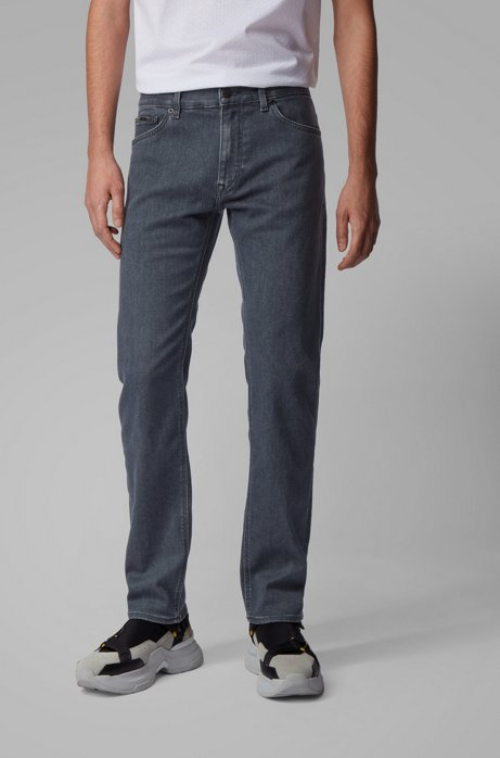 Regular-fit jeans in super-soft gray stretch denim, Grey