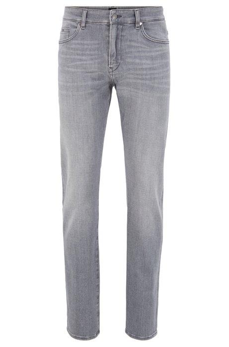 Slim-fit jeans in super-soft gray stretch denim, Light Grey