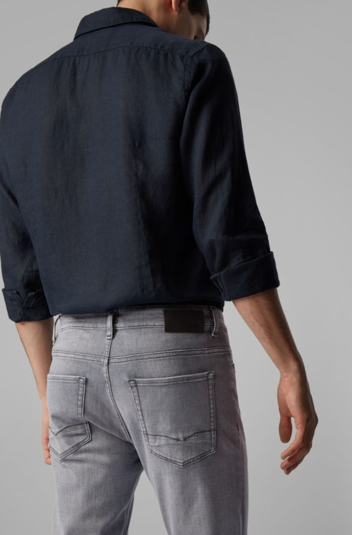 Slim-fit jeans in super-soft gray stretch denim