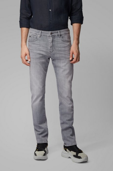 Slim-fit jeans in super-soft gray stretch denim, Light Grey