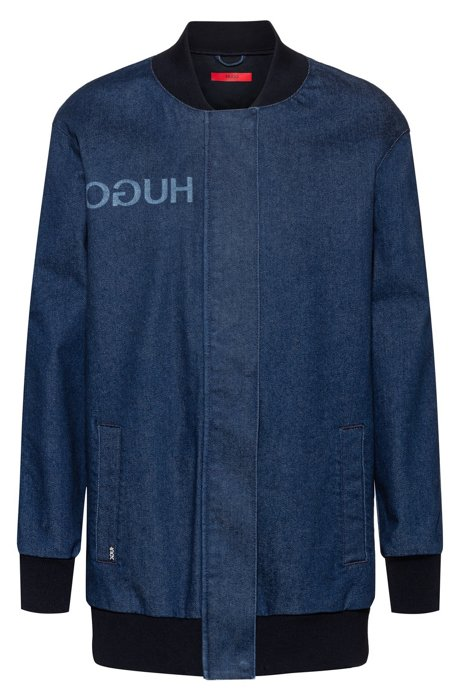 Oversized-fit bomber-style jacket in stretch denim, Blue