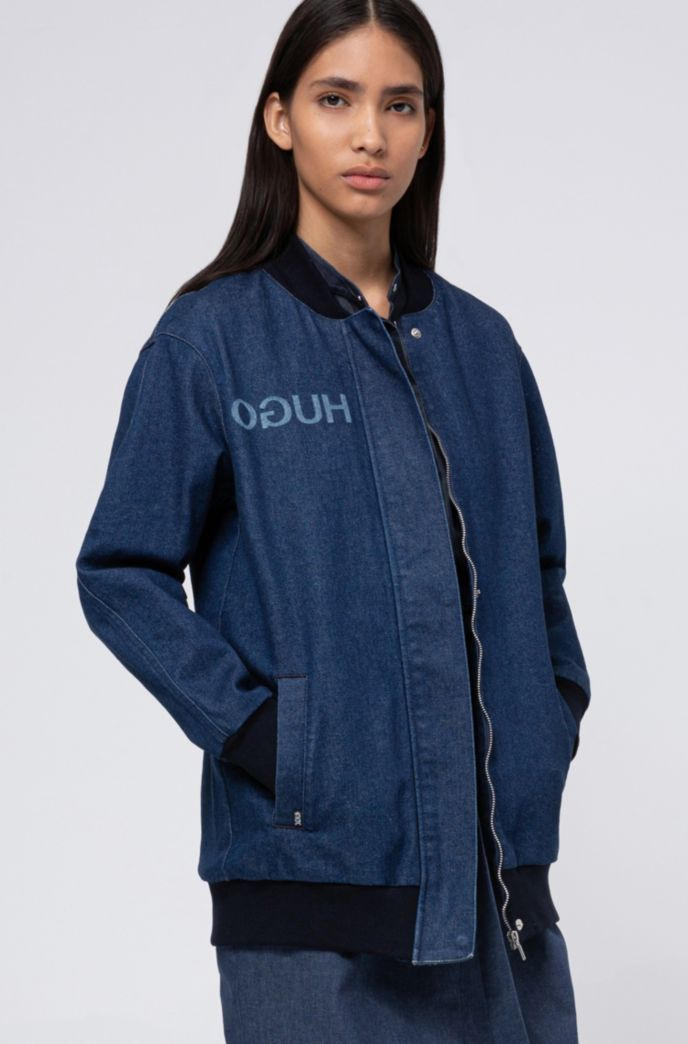 Oversized-fit bomber-style jacket in stretch denim