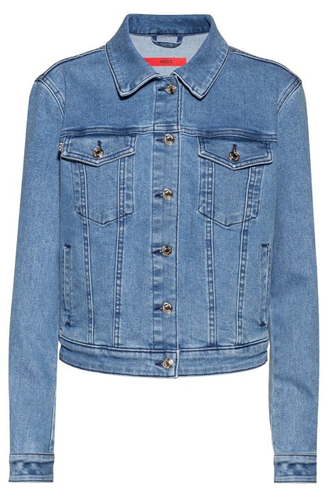 ALEX fitted jacket in stretch denim with studded collar, Turquoise