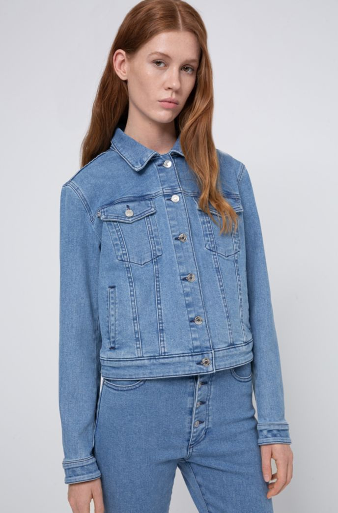 ALEX fitted jacket in stretch denim with studded collar