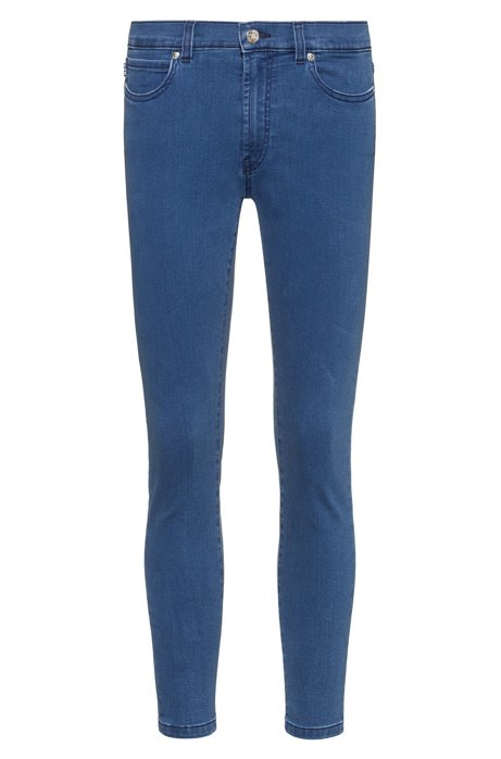 Super-skinny-fit cropped jeans in stretch denim, Light Blue