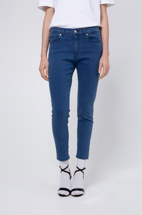 Super-skinny-fit cropped jeans in stretch denim, Light Blue