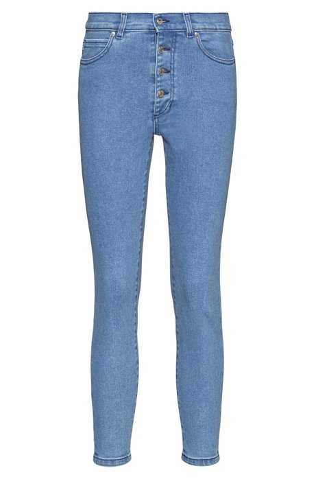 LOU skinny-fit cropped jeans with exposed button fly, Turquoise