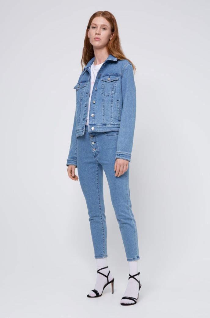 LOU skinny-fit cropped jeans with exposed button fly