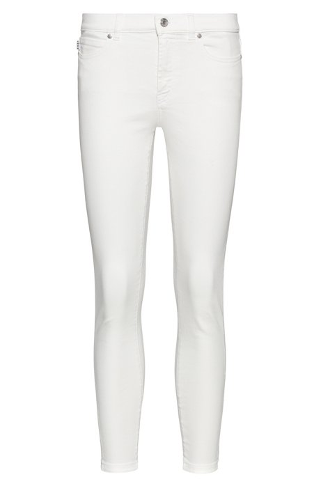 CHARLIE super-skinny-fit cropped jeans with zipped hems, White