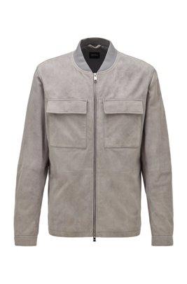 Blouson-style jacket in suede, Silver