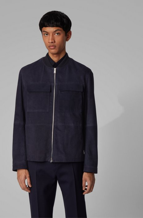 Blouson-style jacket in suede, Dark Blue