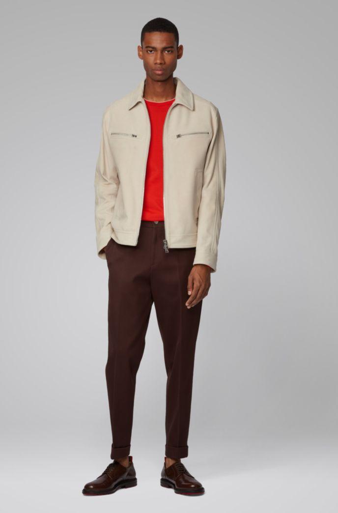 Biker-style jacket in suede with zipper details