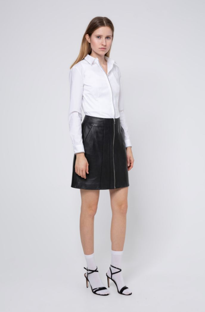 A-line leather skirt with center-front zip