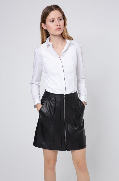 A-line leather skirt with center-front zip, Black