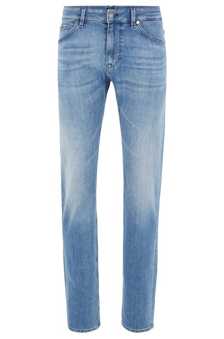 Regular-fit jeans in bright-blue cashmere-touch denim, Turquoise