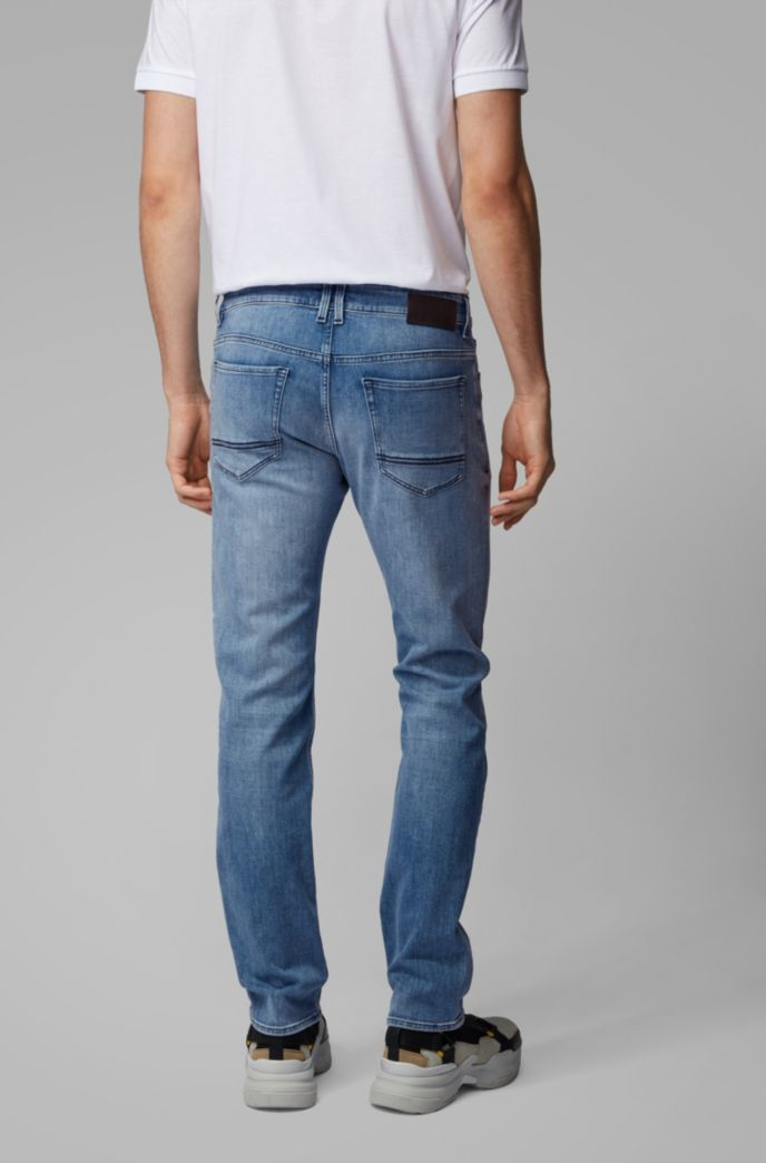 Regular-fit jeans in bright-blue cashmere-touch denim