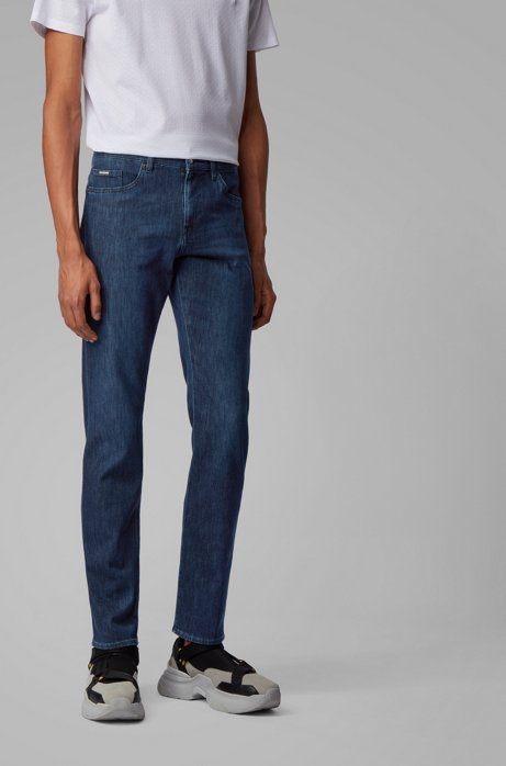 Slim-fit jeans in lightweight Italian stretch denim, Dark Blue