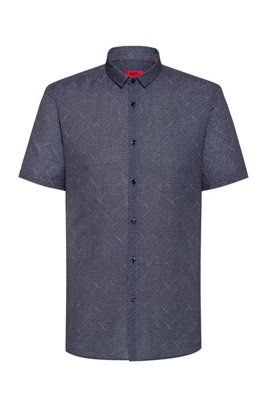 Patterned extra-slim-fit shirt in linen and cotton, Dark Blue