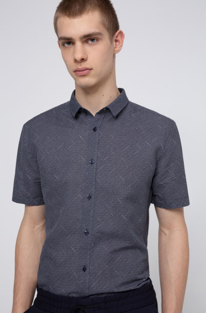 Patterned extra-slim-fit shirt in linen and cotton