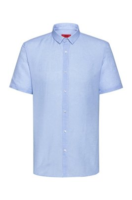 Patterned extra-slim-fit shirt in linen and cotton, Light Blue