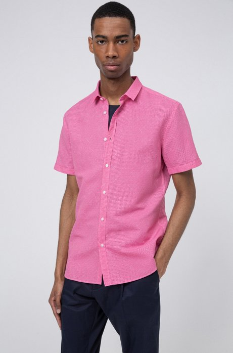 Patterned extra-slim-fit shirt in linen and cotton, Pink