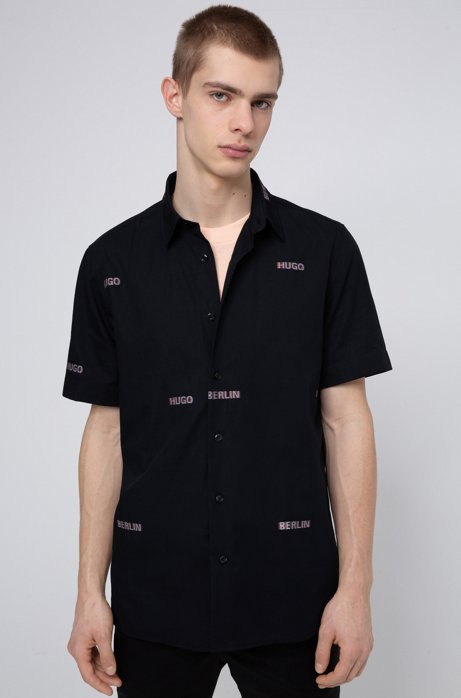 Relaxed-fit shirt in cotton with jacquard logos, Black
