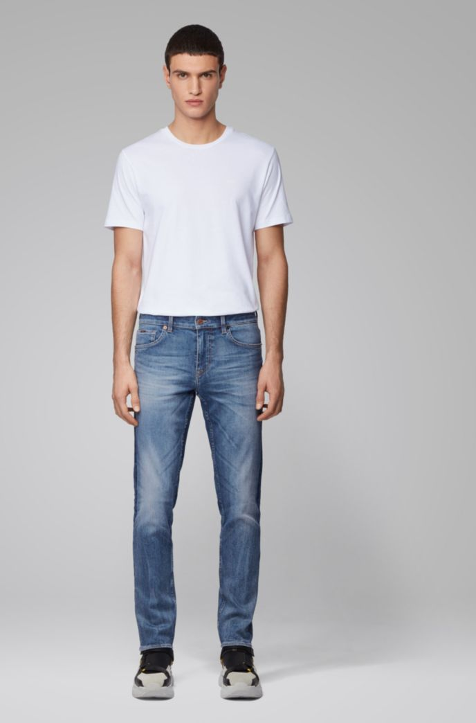 Extra-slim-fit jeans in mid-blue carded denim