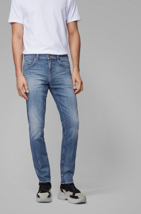 Extra-slim-fit jeans in mid-blue carded denim, Blue